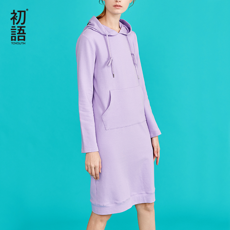 Toyouth New Autumn Long Sweater Dresses for Women Long Sleeve Pokects Maxi Ladies Dress Cotton H Line Solid Vestidos MujerDresses   -