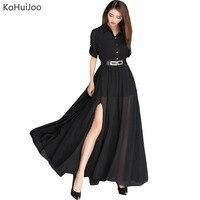 KoHuiJoo Spring Summer Women Long Chiffon Dress Elegant Sexy Beach Dresses Female Casual Front Slit Ankle
