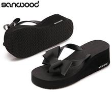 2016 New Arrival Women s Fashion Hawaii Beach Sandals Summer Bowknot Shoes Flat Wedge Flip Flops