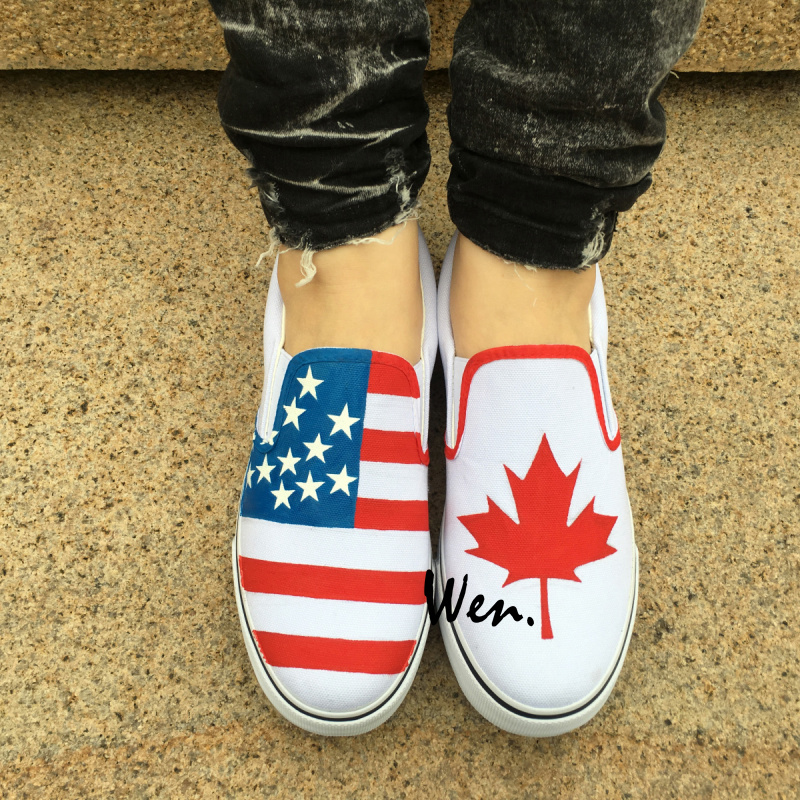 Wen Hand Painted Original Design Custom American Flag Canada Flag Maple Leaf Slip On Shoes Men Women's Canvas Sneakers for Gifts