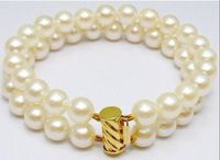 HUGE NATURAL 9 10MM ROUND SOUTH SEA GENUINE WHITE PEARL BRACELET 14K GOLD CLASP