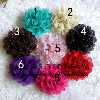 (30pcs/lot)3.5 8 Colors Tulle Chiffon Assorted Colors Flowers For Baby Headband Polka Dot Flower For Girls Hair Wear