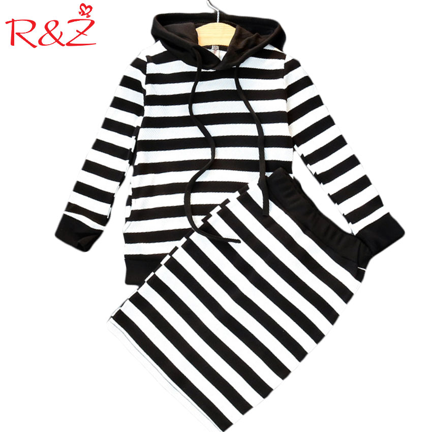 R&Z 2017 New Autumn Girls Stripes Suit with Cap Tops + Skirt 2 Pieces Set Classic Style Package Hip Skirt Fashion Casual Sweater tops dress girls dresses girl clothes autumn style fashion cowboy vest 2017 new 2 pieces set