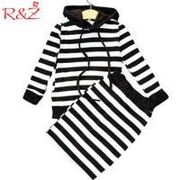 R Z 2017 New Autumn Girls Stripes Suit With Cap Tops Skirt 2 Pieces Set Classic