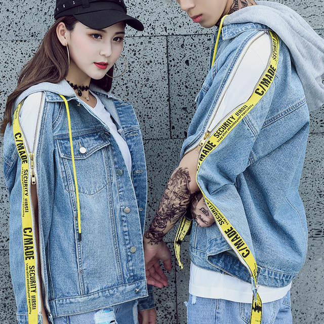 variety styles of 2019 best prices 100% authentic US $58.07 19% OFF Winter Denim Jacket Women Bomber Jacket Light Blue Black  Jeans Jacket Spliced Hit Color Letter Ribbons Streetwear Denim Coats-in ...