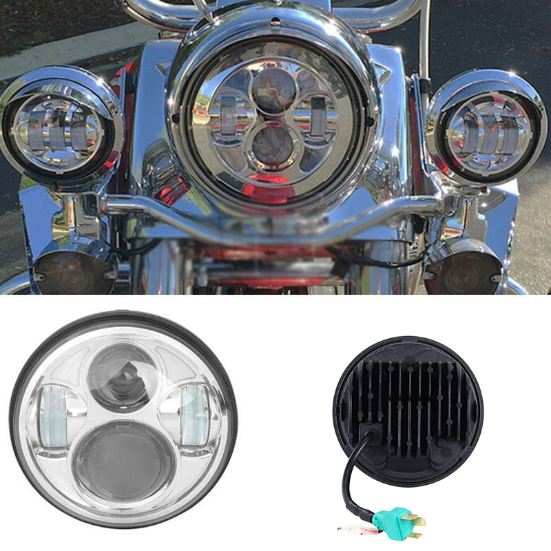 Partol 5.75 40W Motorcycle LED Headlight w DRL Hi-Lo Beam CREE Chips 5 3/4 Inch Daymaker Projector Headlamp for Harley 6000K