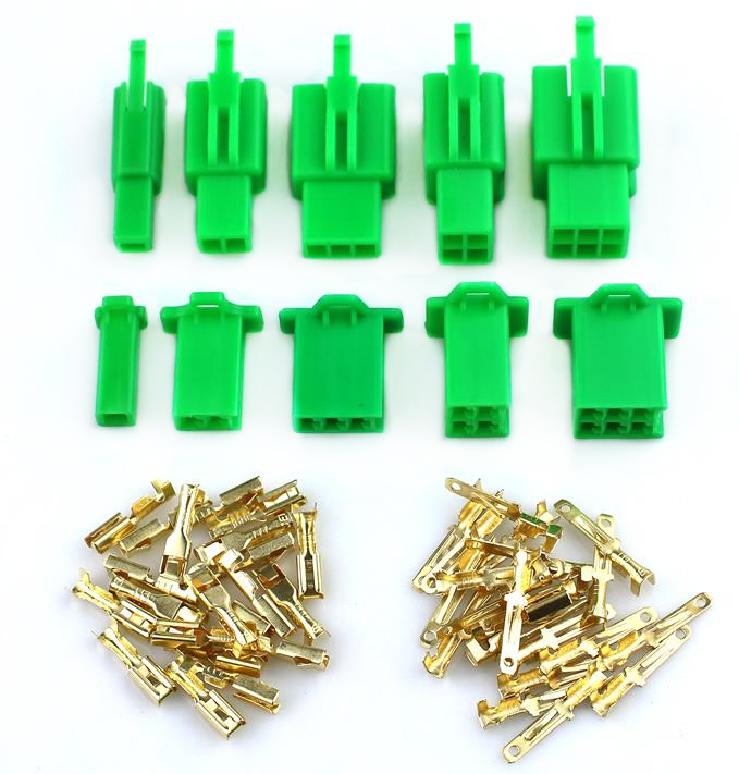 Green 2.8mm 2/3/4/6/9 Pin Automotive 2.8 Electrical Wire Connector Male Female Cable Terminal Plug Kits Motorcycle Ebike Car