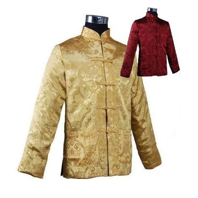 12403b06 Gold Burgundy Chinese Classic Men's Polyester Reversible Coat Mandarin  Collar Tang Suit Long-Sleeve Jacket M L XL XXL XXXL WN019