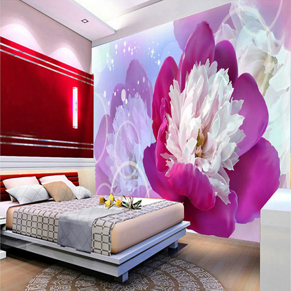 Romantic Purple Rose Flower Blossom 3D Natural Painting Prints on Embossed Wallpaper for 3d Wall Paper Livingroom Mural Rolls modern natural 3d mural wallpaper out of the woods landscape photo prints on embossed wall paper 3d room wallpaper mural rolls