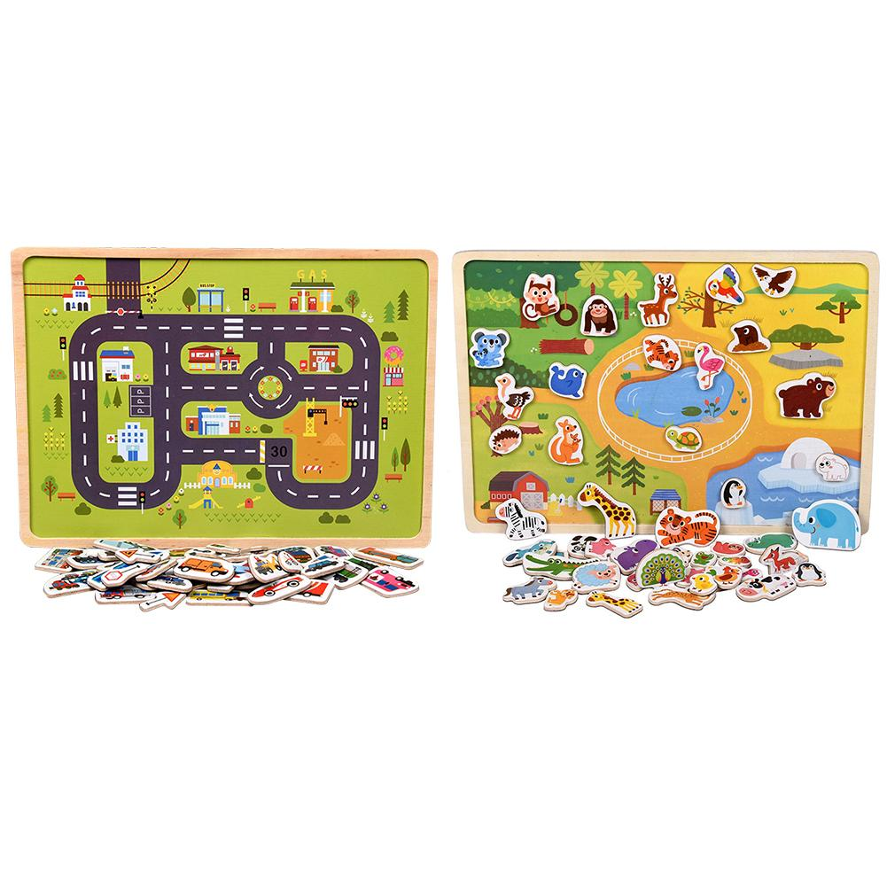 Toys For Children Wooden Fun Scene Toy Car Farm Magnetic Three dimensional Puzzle Wooden Magnetic Puzzle