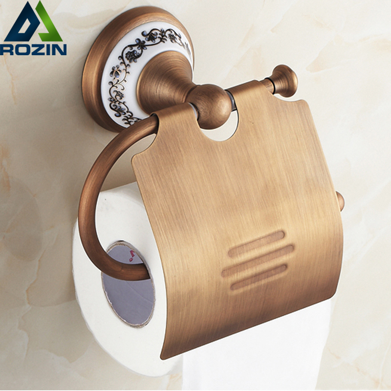 Free Shipping Wholesale And Retail Wall Mounted Bathroom Toilet Paper Holder Antique Brass Roll Tissue Box bathroom accessory antique brass wall mounted copper toilet paper roll holder free shipping aba037
