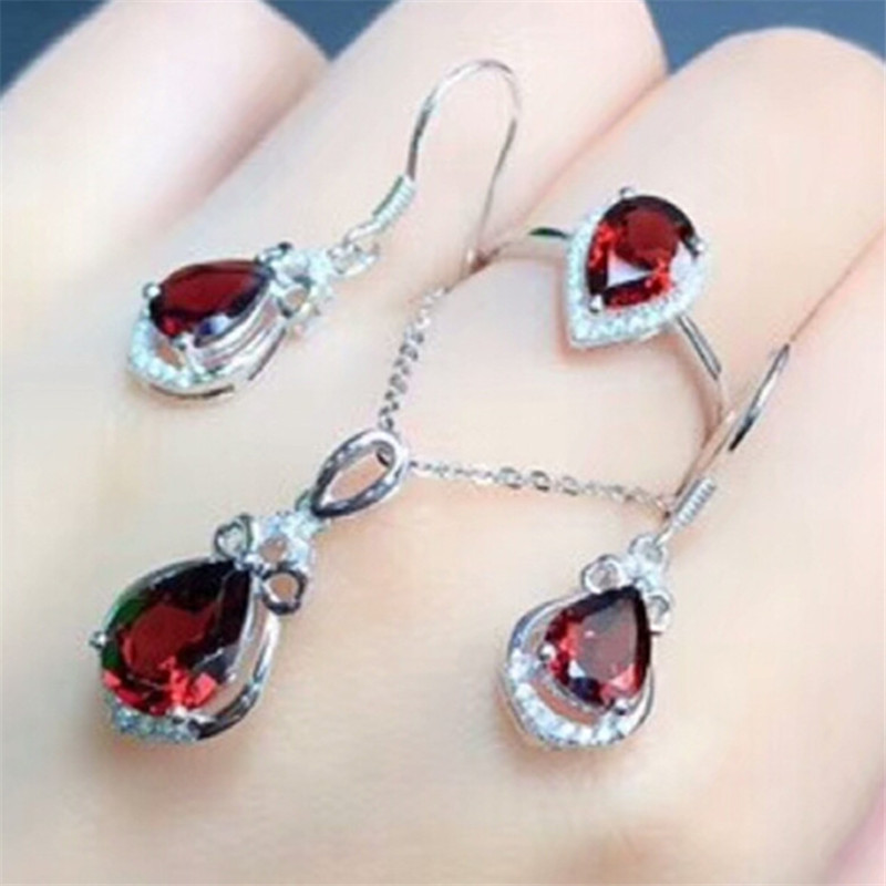 fine jewelry factory wholesale trendy red garnet natural gemstone ring earring pendant necklace 925 silver jewelry set for women
