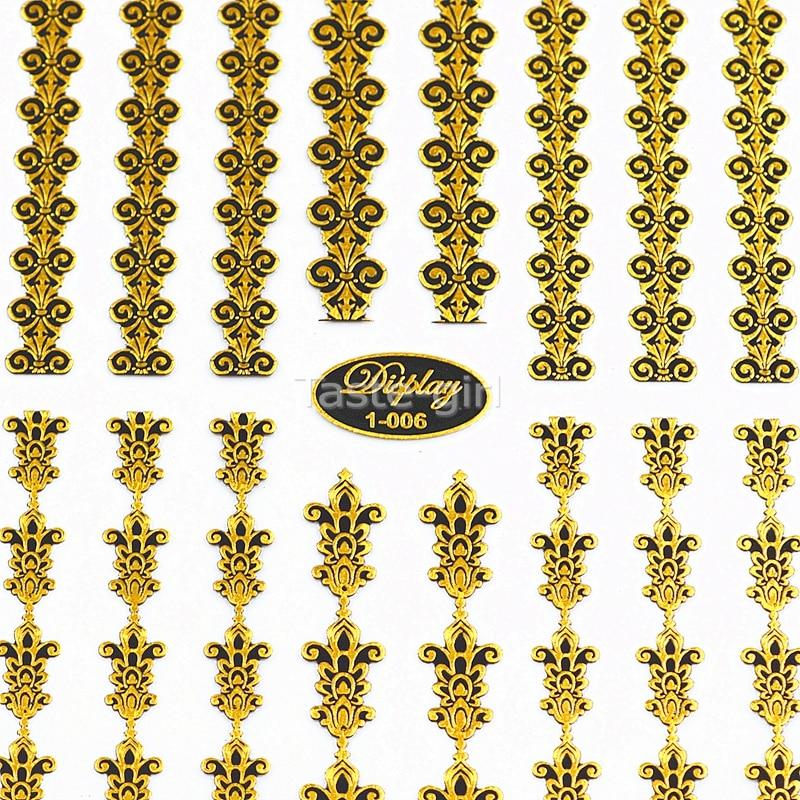 Hoge kwaliteit 3d goud (zwart) Nail Art Stickers Decals Hot Stamping - Nagel kunst