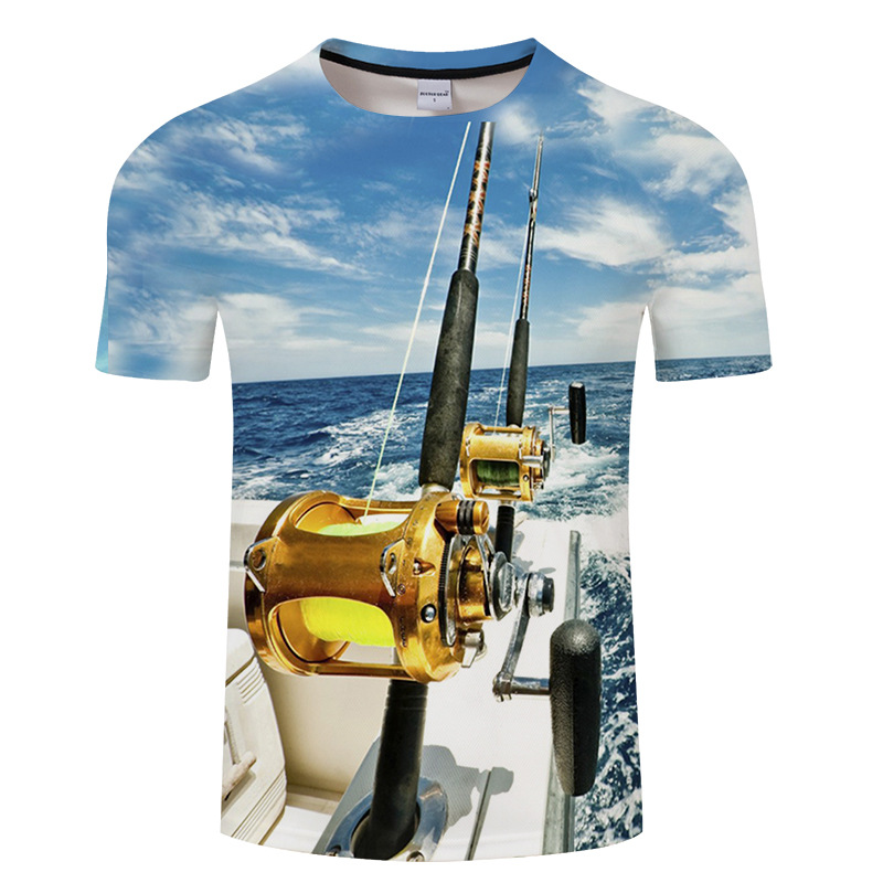 2018 Most Popular Fishing Rod 3D Funny Men Print T Shirt Summer Funny Fish Print Short Sleeve O-neck Tshirt Supernatural tshirt