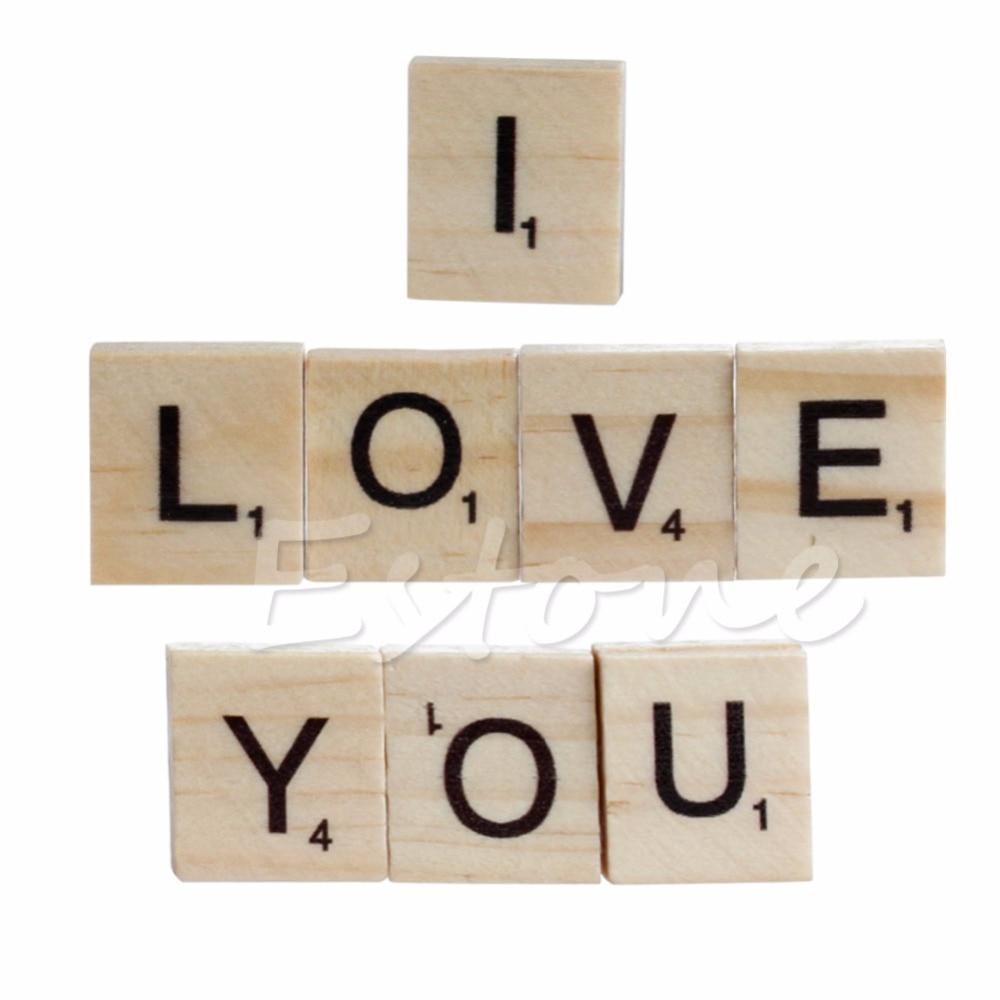 100 pcs Black Scrabble Tiles Wooden Alphabet Letters /& Numbers For Wood Crafts