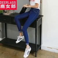 Autumn High Waist Jeans Female Trousers Slim Skinny Pants Elastic Waist Plus Size Women S Long