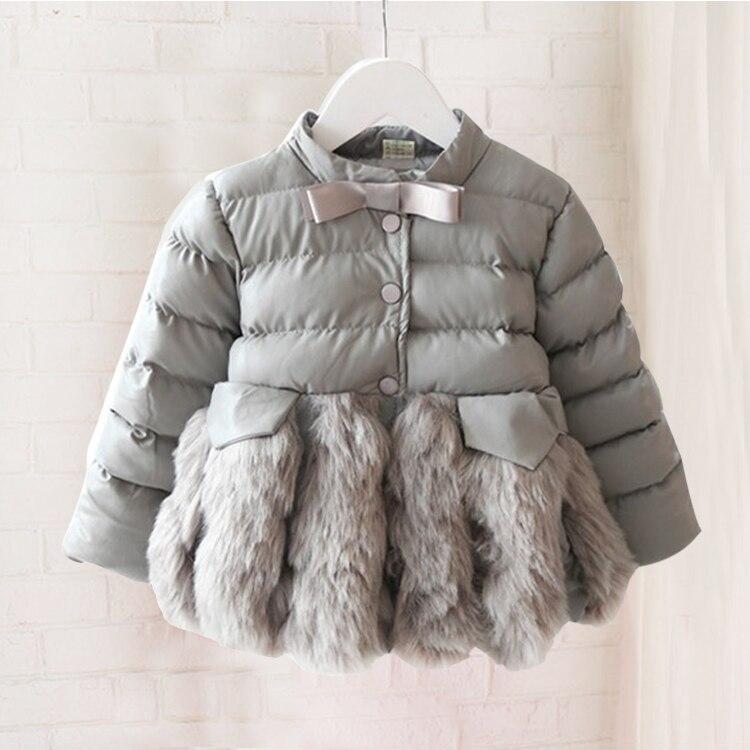 цена на Female baby girl winter coat thickening cotton Korean children imitation fur coat girl winter leather jacket