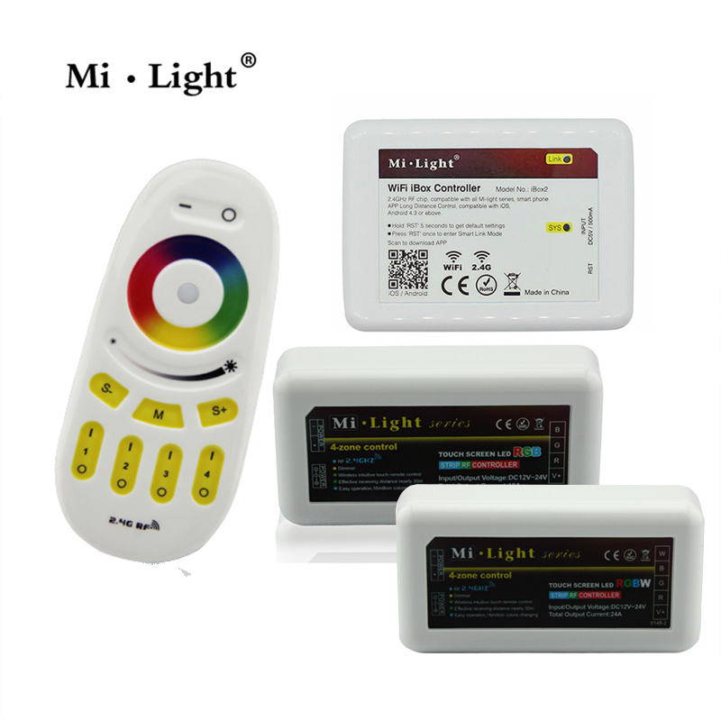 Mi light 2.4G Wireless RF Touch Remote, 4-zone RGBW LED Controller, WiFi Mi-Light For 3825 5050 RGBW RGBWW Strip dc12 24v mi light wireless 10a 2 4g 4 zone rf wireless rgbw led remote wifi controller dimmer for 5050 3528 led strip light bulb