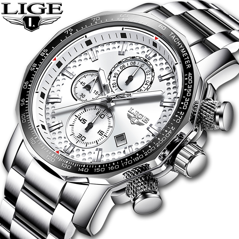 LIGE Stainless Steel Men Watch Top Brand Luxury Fashion Business Big Dial Sport Waterproof Date Watches
