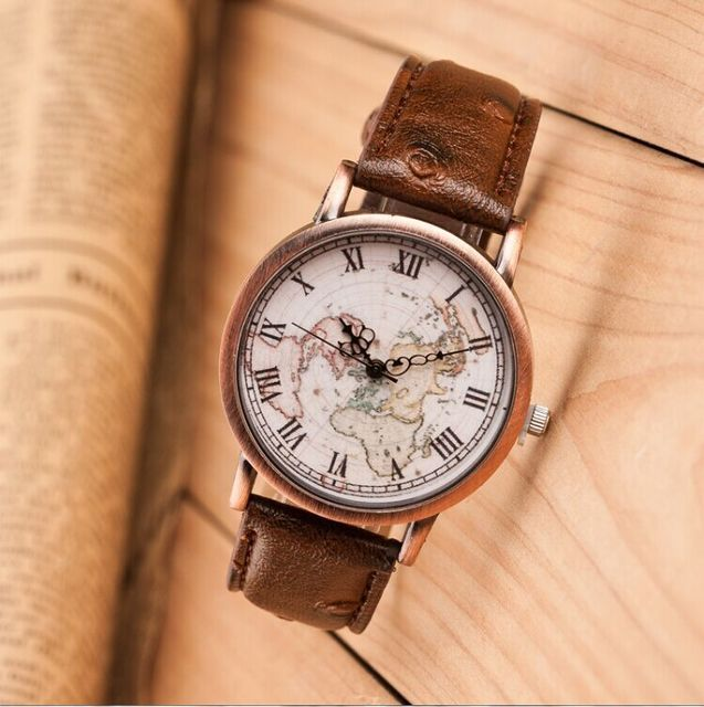 Best Quality 2015 New Map Watch, World Map Design Roman Numeral Hour ...