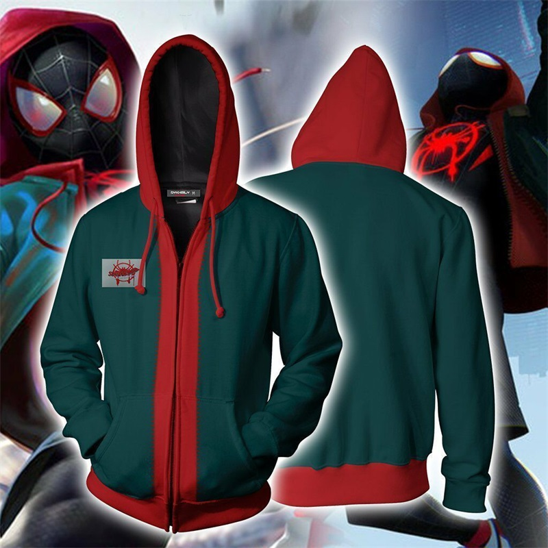 Spiderman Into the Spider Verse Miles Morales Spider man Superhero Cosplay Costumes Sweatshirt Hoodie Jacket Green Coat