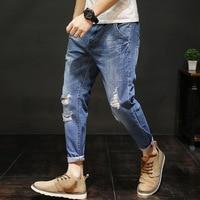 Plus Size Hole Design Ankle Length Man Jeans Cuffs Plus Size Blue Denim Pants Man Trousers 2019 Male Clothes RMP175016