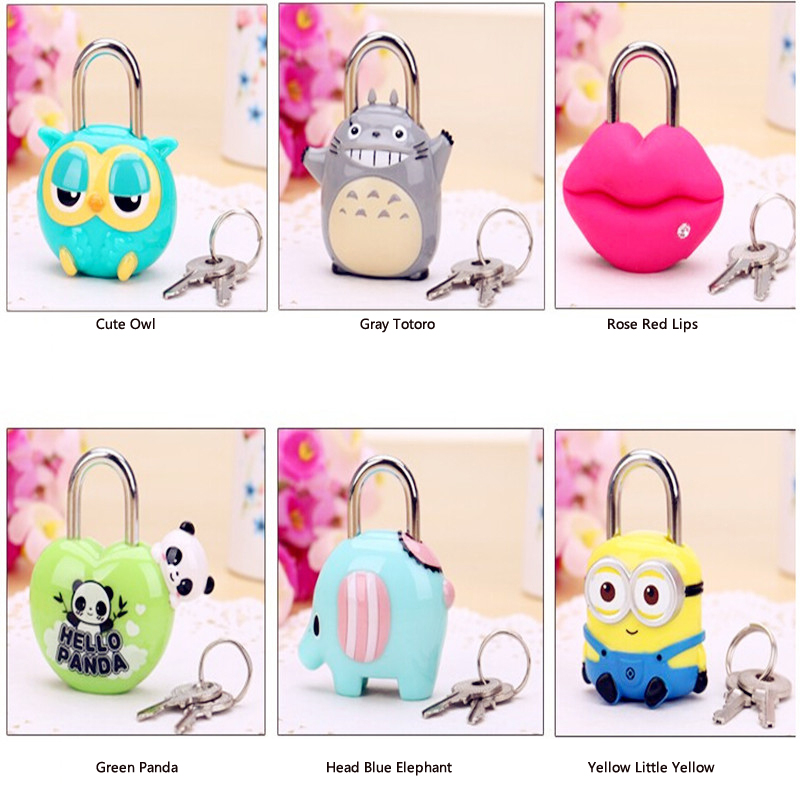 Creative personality padlock cartoon doll cute app lock Doors and windows suitcase table cabinets convenient mini metal lock ...