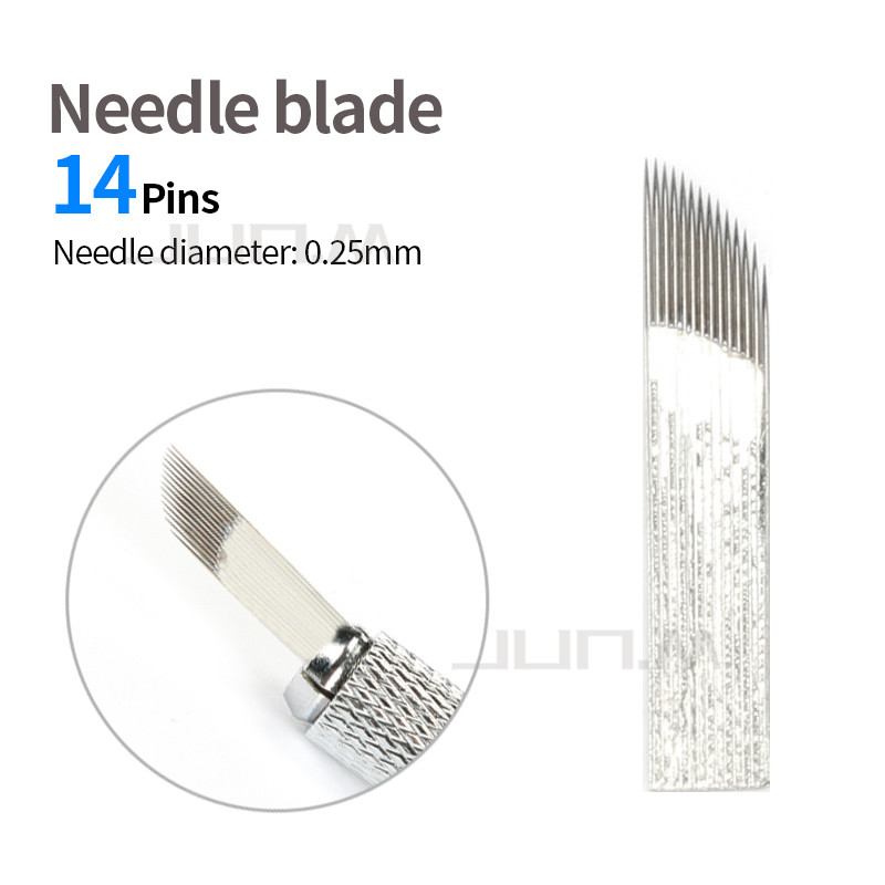 500pcs 0 25mm 14 Pins Blade Microblading Needles Permanent Makeup Eyebrow Tattoo For 3D Embroidery Manual