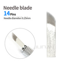 500pcs 0.25mm 14 Pins  Blade Microblading Needles Permanent Makeup Eyebrow Tattoo For 3D Embroidery Manual Tattoo Pen