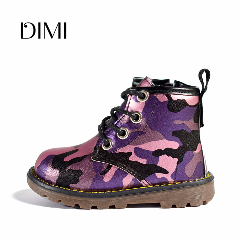 2019 New Spring Children Boots Camouflage Leather Unisex Baby Rubber Boots Waterproof Fashion Girls Boys Martin Boots 21-30