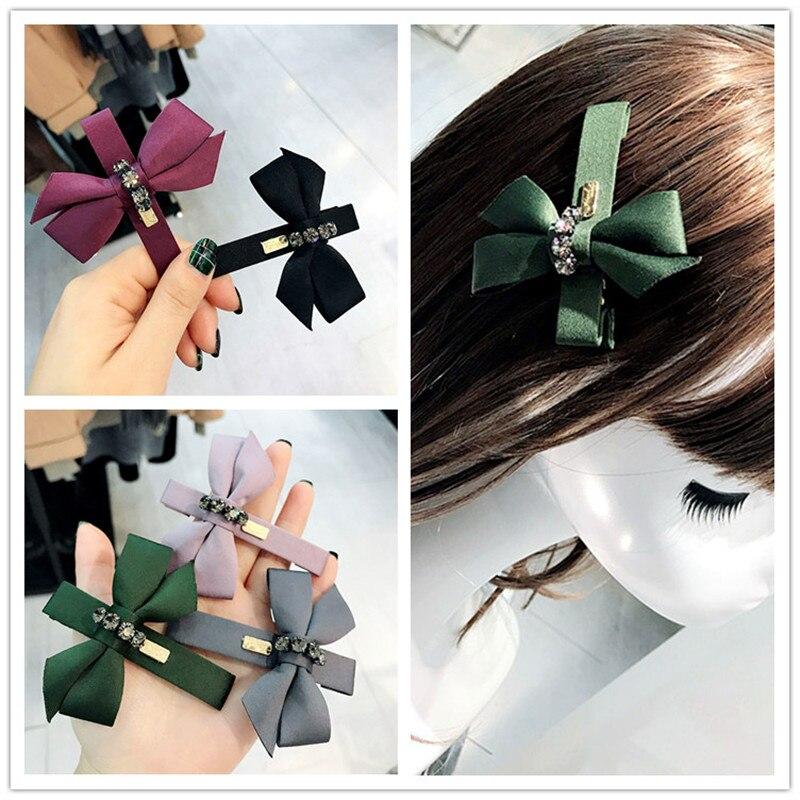 Korea Handmade Cloth Bowknot Rhinestone Barrettes Hairpins Hair Clips Headwear Accessories Fashion Jewelry-YHAWHP009C5