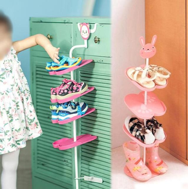 An Style Cartoon Animal Three Dimensional Child Shoes Shelf Simple Door Multi Layer Kids Storage Rack