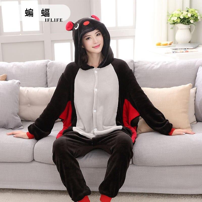Black Bat  Pajama Set Women Men Unisex Adult Animal Pijama Flannel Onesie Cosplay Sleepwear Hoodie Halloween Holiday Costume