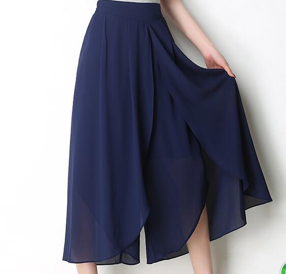 2019 Autumn Plus Size5XL High Waist Double-Deck Women Trousers Elegant Chiffon   Wide     Leg     Pants   Fashion Ladies Flare Dance   Pant