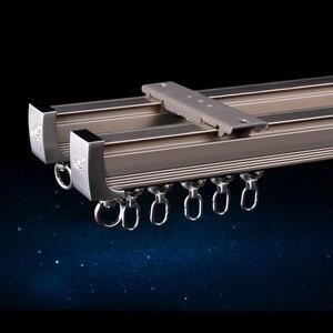 Image 4 - Алюминиевый сплав карниз для штор, Потолочная боковая установка, один прочный тройной аксессуар, размер по заказу