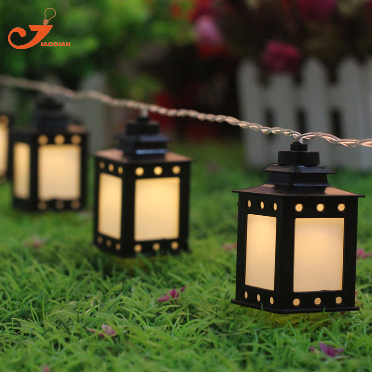 Black white lantern light summer Patio string lights fairy holiday 10led Christmas garden lighting battery powered 3V AA indoor ...