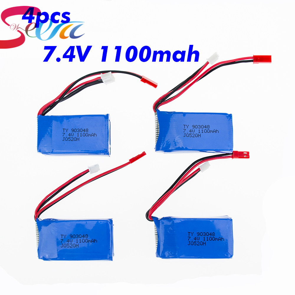 4pcs 7.4V Wltoys A949 A959 A969 A979 K929 LiPo Battery 1100mah Lipo Battery 7.4V For Wltoys a959 RC Helicopter Airplane Car Boat mos rc airplane lipo battery 3s 11 1v 5200mah 40c for quadrotor rc boat rc car