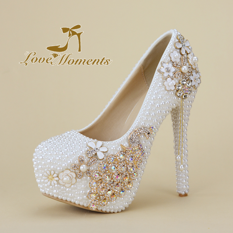 White pearl beads Women wedding shoes Bride high woman party dress shoes Luxury peacock female shoes high Pumps Matching Purse