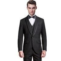 Moda erkek takım elbise erkek takım elbise siyah erkekler için özelleştirmek için apple yaka düğme düğün takımları damat düğün suit