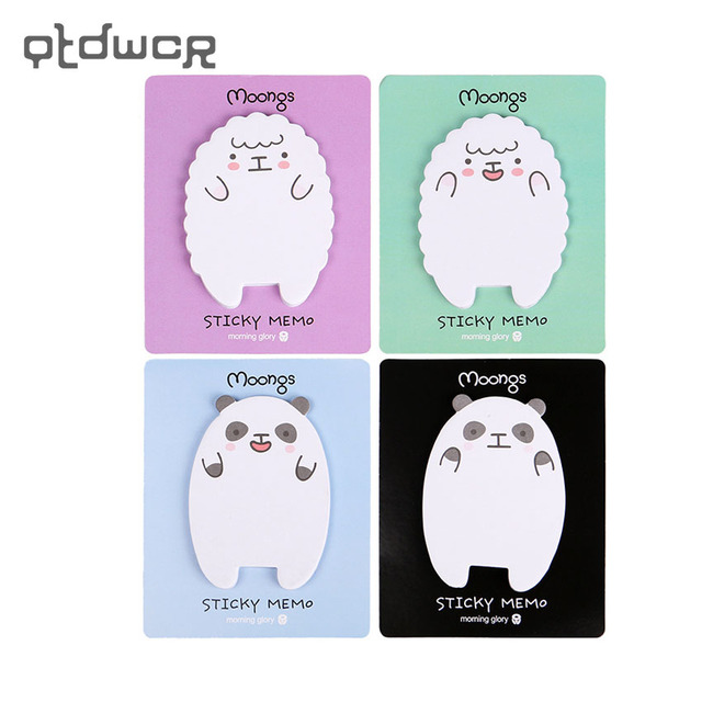 3PCS Cute Sheep Panda Memo Pad Sticky Notes Memo Notepad School Office Supply Escolar Papelaria Gift Stationery