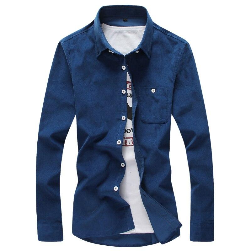 Pure Color Long Sleeve Shirts Mens Large Size 4XL 5XL Corduroy Fabric White Black Blue Khaki Red Fashion Casual Man Shirt 2018