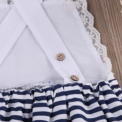 0ead381f Black and Navy Blue Toddler Infant Baby Girl Lace Patchwork Striped Romper  Jumpsuit Outfits Sunsuit Clothes-in Rompers from Mother & Kids on  Aliexpress.com ...