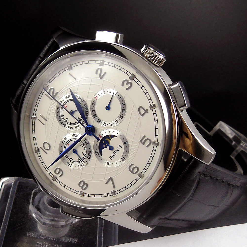 New 44mm Parnis Date Day White Dial Moon phase Blue Markers Leather strap Automatic Movement Men