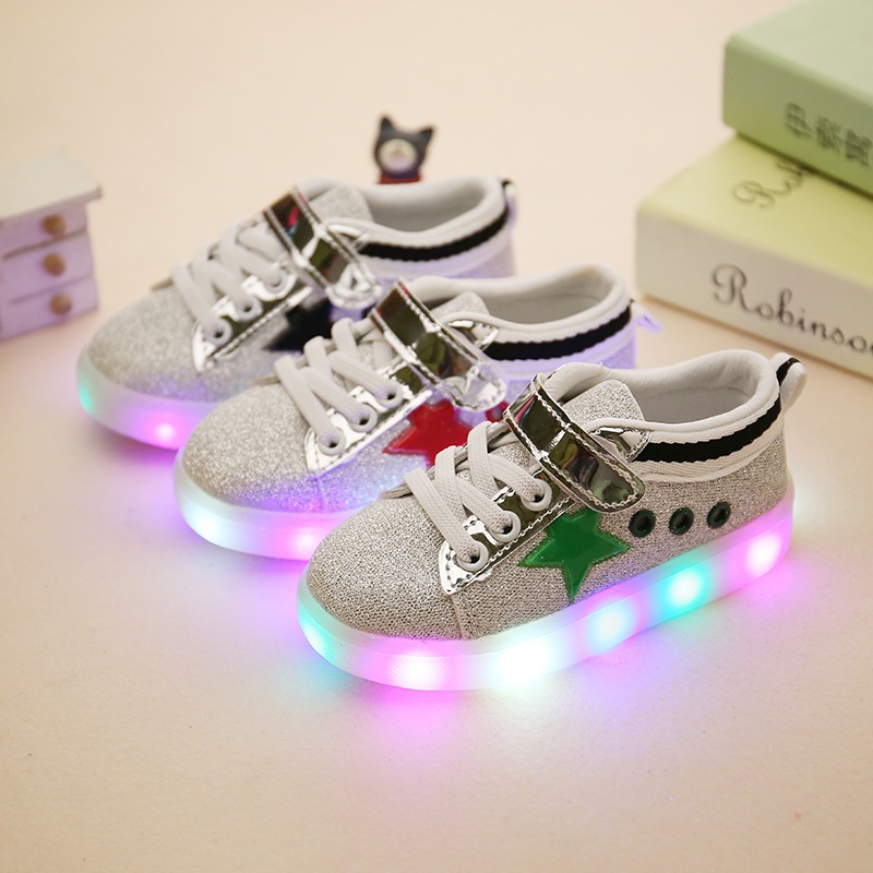 a3d7edb283 Kids Casual Shoes Boys Girls Loop Solid Color Sneakers Baby Fashion LED  Light Sport Shoes Flash With Light Single Boots