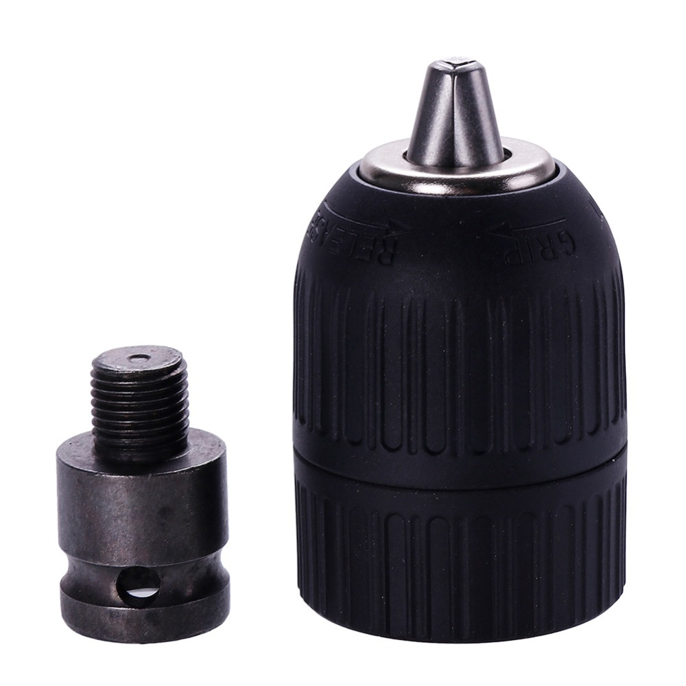 1 Pcs 2-13mm Drill Keyless Chuck Plastic Sleeves 3/8 + 1/2 Hex Shank Rod Adaptor Black High Quality #281038 jt33 keyless drill chuck 1 13mm 1 32 1 2 self tighten with r8 shank adapter top quality