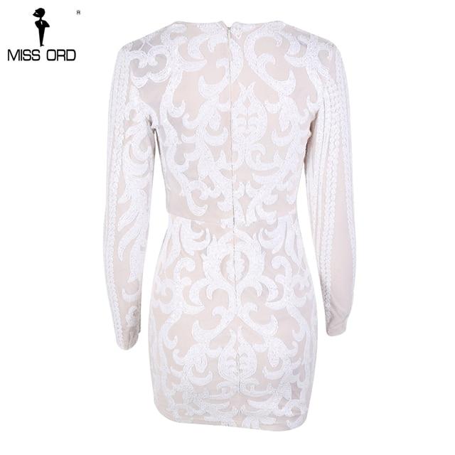 2017 Sexy V Neck Long Sleeve Geometric Slim Sequin Woman Elegant  Dress