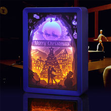 2019 christmas lights outdoor tree Paper Carving Lamp Gift LED 3D Stereoscopic Light Creative luces de navidad fairy lights(China)