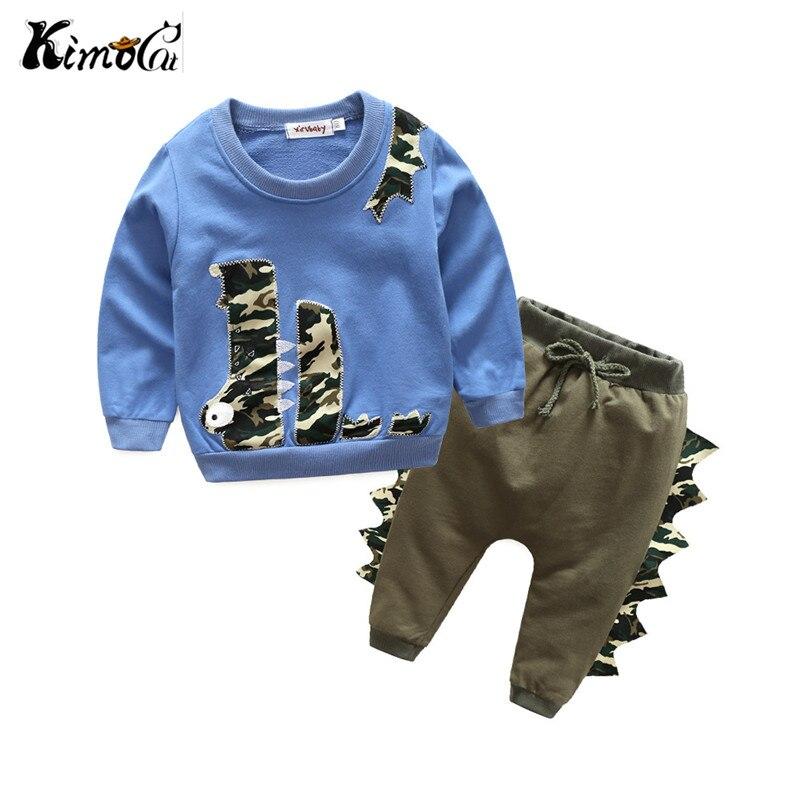 Kimocat Primavera e in autunno a maniche lunghe in cotone bambino ragazzo e ragazza del fumetto crocodile dinosaur design T-Shirt e pantaloni