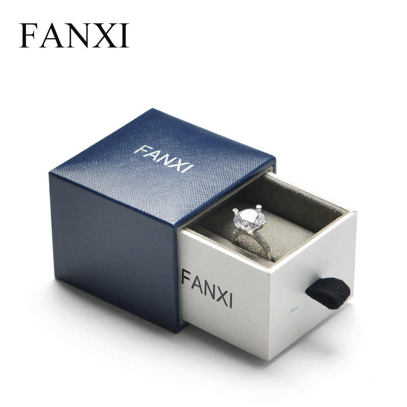 Fanxi New Design Drawer Jewelry Box Gift Box For Ring Necklace Bracelet Watch Packaging Box Blue White Jewelry Shop Organizer