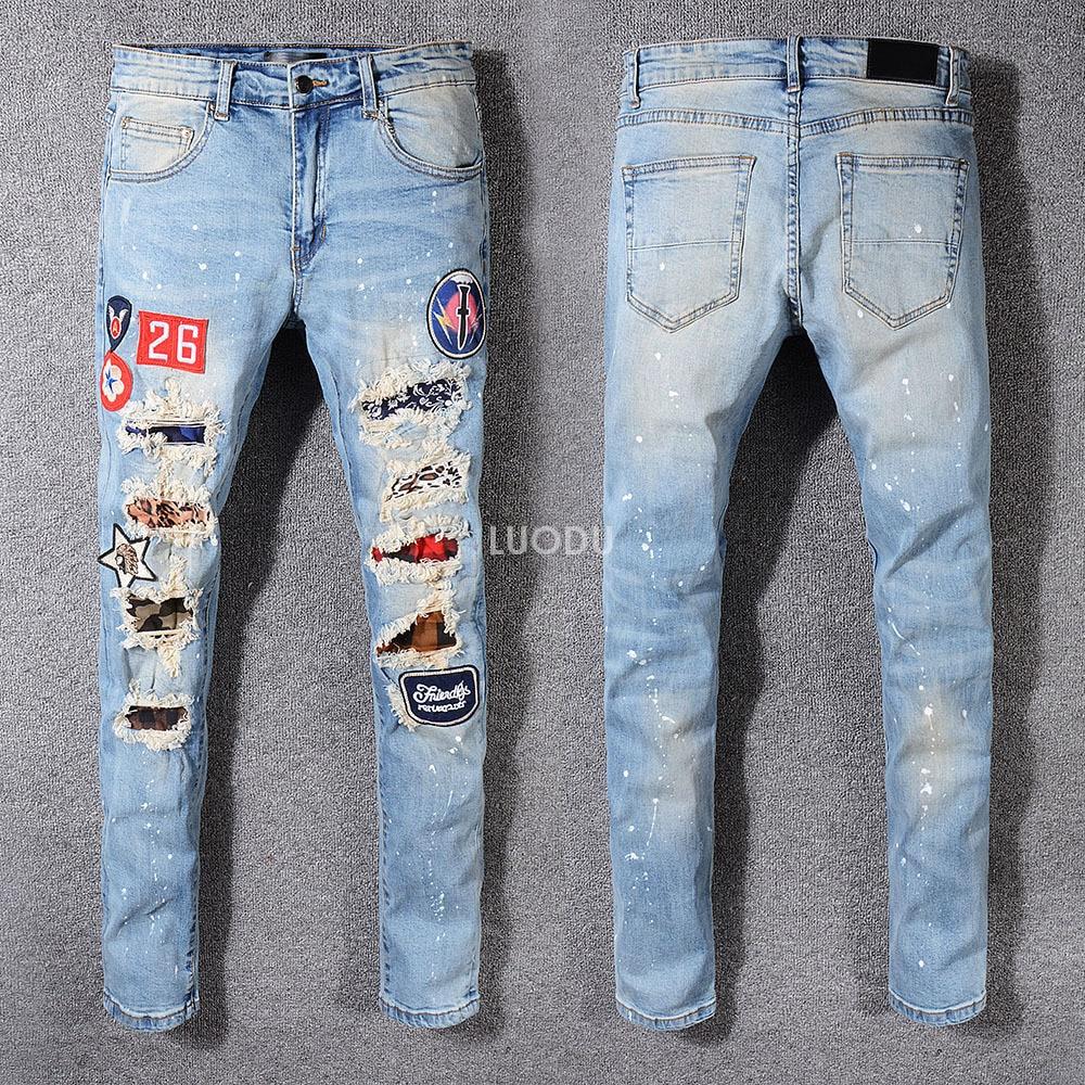 Men's Skinny Blue Destroyed Distressed Jeans